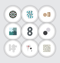 flat icon games set of arrow jigsaw lottery and vector image