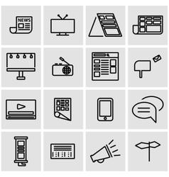 line advertisement icon set vector image
