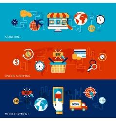 Online shopping banner set vector image vector image
