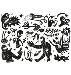 Space invaders aliens - doodles set part 2 vector image vector image
