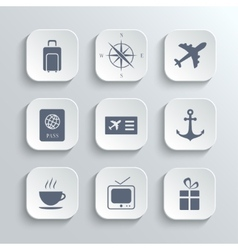 Travel icons set - white app buttons vector image