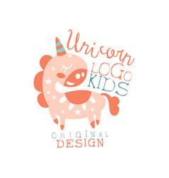 unicorn kids logo original design baby shop label vector image vector image