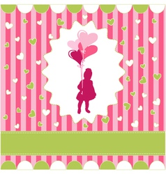girl with balloon pink wallpaper vector image vector image