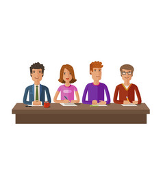 Group of judges or students exam education vector