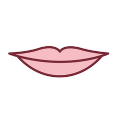 Pink silhouette of sensual lips vector