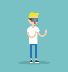 Young blond teenage boy wearing virtual reality vector