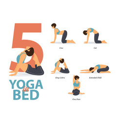 5 yoga poses for easy yoga at home vector