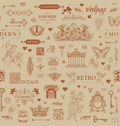 abstract seamless pattern with vintage sketches vector image