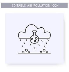 Acid rain line icon dangerous poisonous rainfall vector