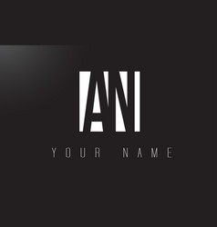 an letter logo with black and white negative vector image