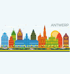 Antwerp belgium city skyline with color buildings vector