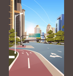 Asphalt road with bike cycling lane path vector
