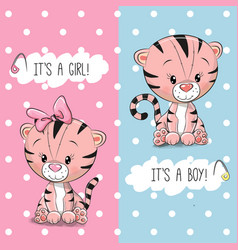 Baby shower greeting card with tigers vector