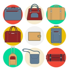 Baggage Icons Luggage Icons Set Bags and Suitcases vector