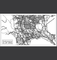Bandar lampung indonesia city map in black vector