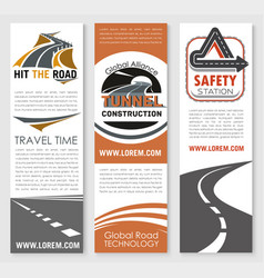 Banners of road safety construction company vector
