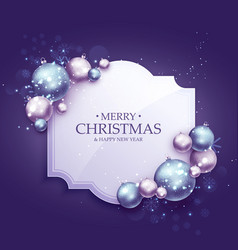 Beautiful purple christmas greeting background vector