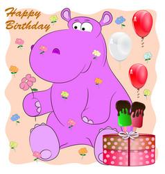 Birthday greeting card with behemoth cartoon vector
