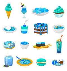 blue food bluish cake or cupcake with vector image