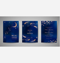 blue sky with sparkling stars wedding invitation vector image