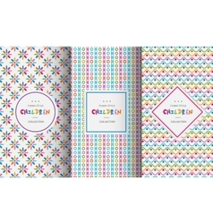 Bright colorful seamless patterns for baby style vector
