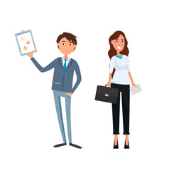 Business plan of man and woman workers teamwork vector