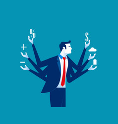 Businessman and multitasking concept business vector