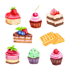 Cake and pastry set of watercolor dessert vector