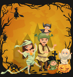 Cartoon family halloween poster vector