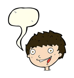 Cartoon laughing boy with speech bubble vector