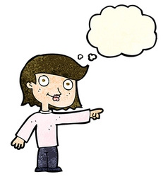 Cartoon pointing person with thought bubble vector
