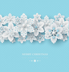 Christmas background with 3d decorative snowflakes vector