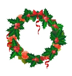 Christmas wreath made from oranges and holly vector image