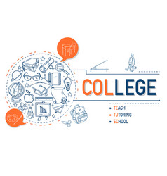college icons collection design vector image
