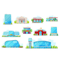 commercial and urban buildings icons vector image