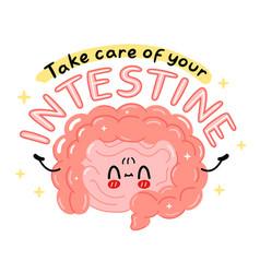 Cute funny intestine organ character take care vector