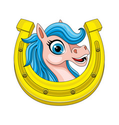 cute horse and horseshoe vector image