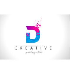 D letter logo with shattered broken blue pink vector