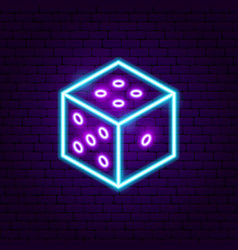 Dice neon sign vector