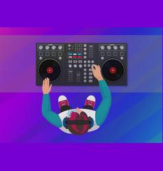 dj playing vinyl on neon color light vector image