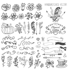 Doodle ribbonsswirlsfloral decor element for vector image