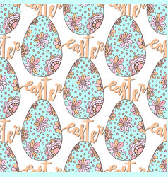 Easter pattern with hand drawn eggs and lettering vector