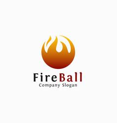 Fire ball logo template vector