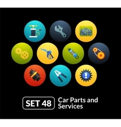 Flat icons set 48 - car parts and services vector image
