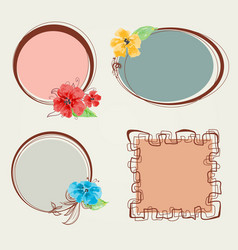 frame set floral decorations vector image