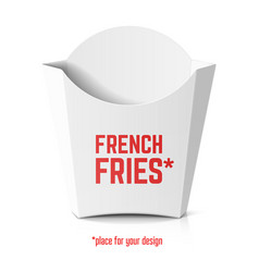 french fries white paper box template with place vector image