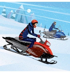 Friends snowmachine race vector