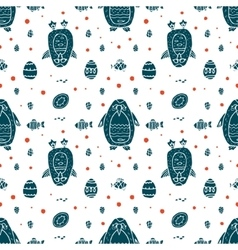 Funny seamless pattern with penguin and eggs vector