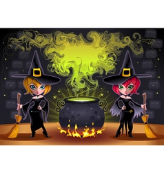 Funny witches with pot vector image