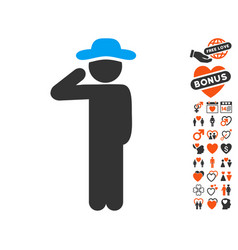 Gentleman salute icon with lovely bonus vector